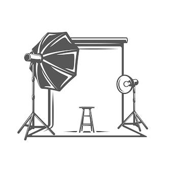 Élément de studio photo isolé sur fond blanc
