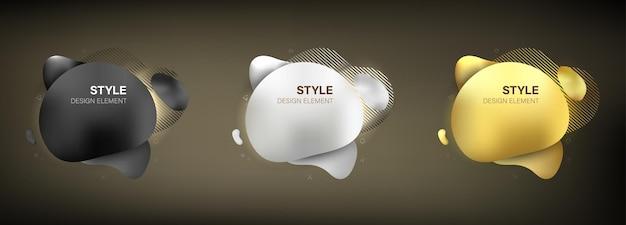 Élément de style abstrait vector illustration couleur or argent et noir