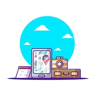 Élément de tourisme d'illustrations vectorielles de dessin animé. journée mondiale du tourisme, bâtiment et concept d'icône de point de repère