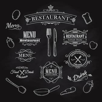 Élément typographique pour menu restaurant tableau noir vintage han