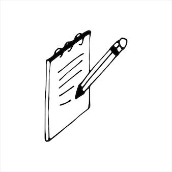 Élément unique de bloc-notes dans l'ensemble d'affaires doodle. illustration vectorielle dessinée à la main pour cartes, affiches, autocollants et design professionnel.