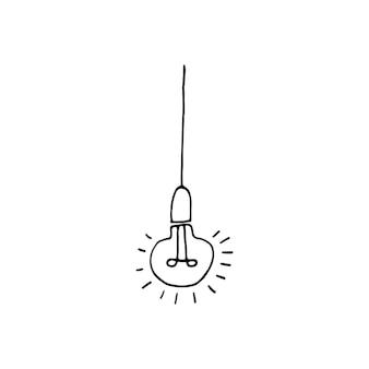 Élément unique d'idée d'ampoule dans l'ensemble d'affaires de doodle. illustration vectorielle dessinée à la main pour cartes, affiches, autocollants et design professionnel.