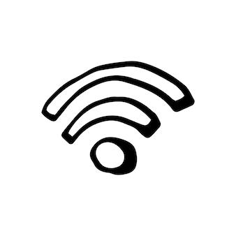 Élément unique de wi-fi et de transmission dans l'ensemble d'affaires doodle. illustration vectorielle dessinée à la main pour cartes, affiches, autocollants et design professionnel.