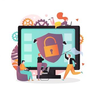 Élément de vecteur antivirus avec des caractères