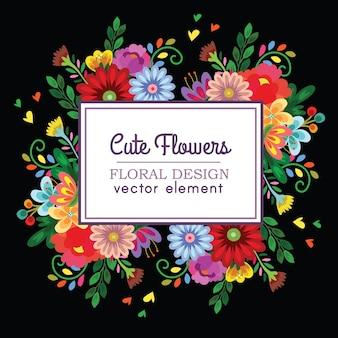 Élément de vecteur de design floral mignon coloré