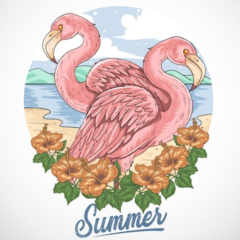 Element de vecteur de flamingo beach summer party