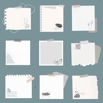 Élément de vecteur de note numérique sertie de dessin memphis