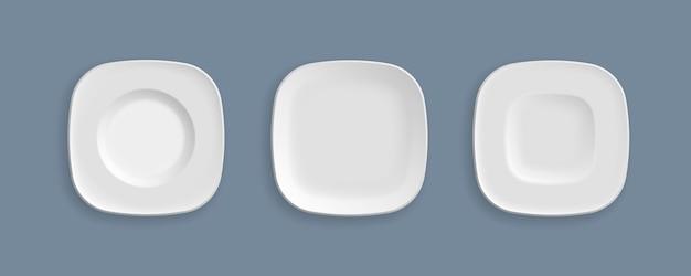 Élément de verrerie graphique concept abstrait. ensemble d'assiettes blanches, bols, plats