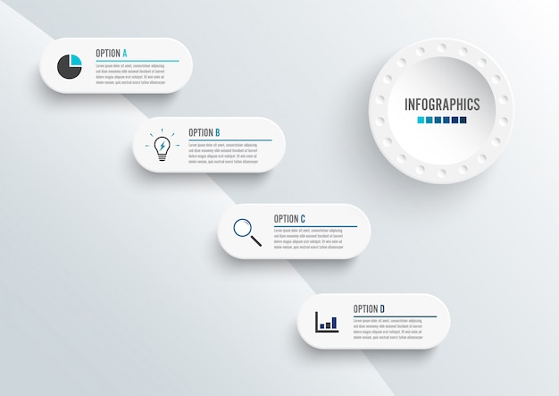Éléments abstraits du modèle d'infographie graphique avec étiquette, cercles intégrés. concept d'entreprise avec 4 options.