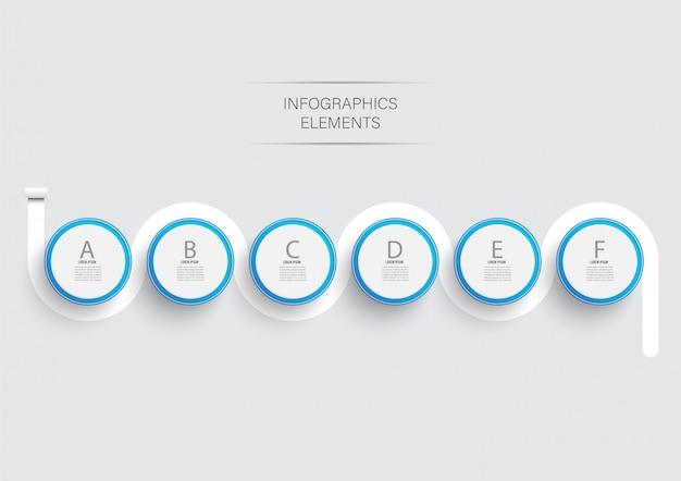 Éléments abstraits du modèle d'infographie graphique avec étiquette, cercles intégrés. concept d'entreprise avec 6 options. pour le contenu, diagramme, organigramme, étapes, pièces, infographie de la chronologie, mise en page du flux de travail.