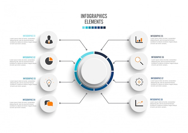 Éléments abstraits du modèle infographique graphique