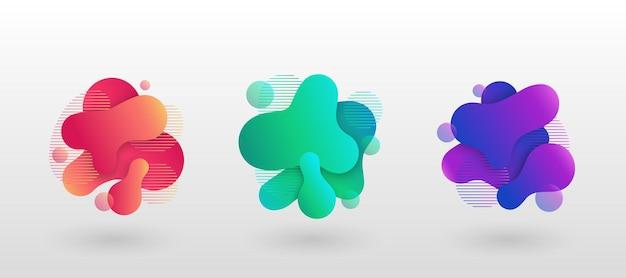 Éléments abstraits géométriques avec des formes liquides fluides