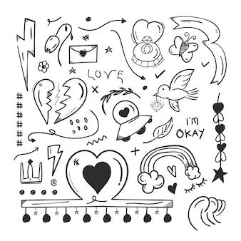 Éléments abstraits de griffonnage de griffonnage avec le concept d'amour