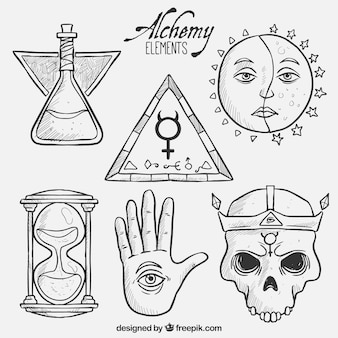 Éléments d'alchimie dessinés à la main
