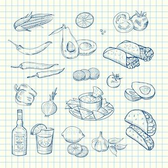 Éléments alimentaires mexicains esquissés de jeu sur la feuille de cellule