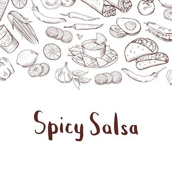 Éléments alimentaires mexicains esquissés avec la place pour le texte