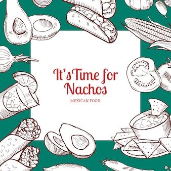 Éléments alimentaires mexicains esquissés avec rectangle blanc avec la place pour le texte