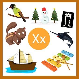 Éléments de l'alphabet x pour les enfants
