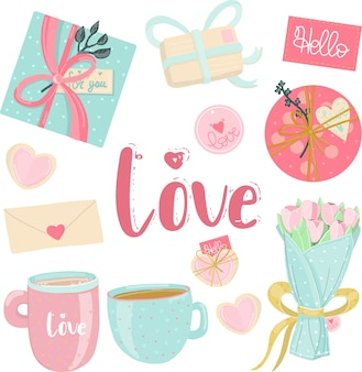 Éléments d'amour dans des couleurs pastel.