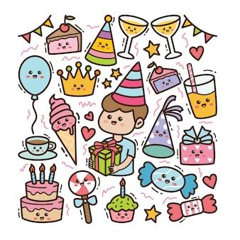 Éléments d'anniversaire et de fête de dessin animé dans l'illustration de doodle kawaii