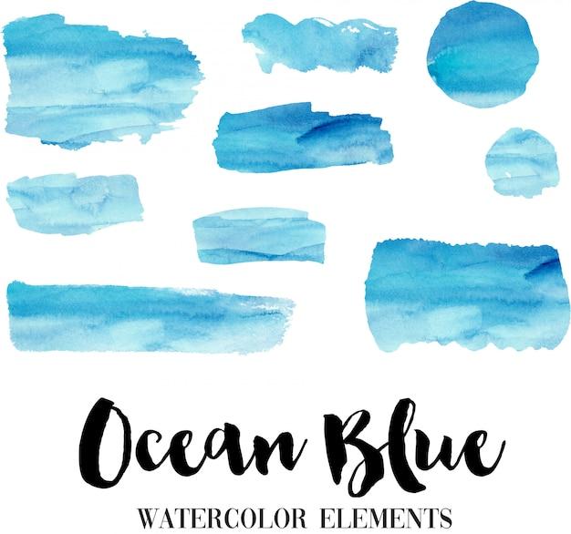 Éléments d'aquarelle bleu océan