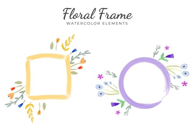 Éléments aquarelle de cadre floral