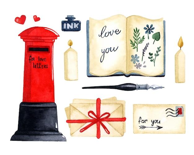 Éléments d'aquarelle de lettre d'amour mis carte de la saint-valentin