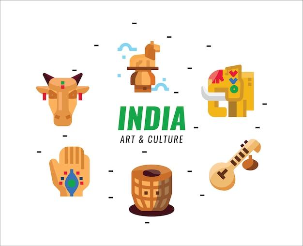 Éléments d'art et de culture de l'inde. éléments plats.