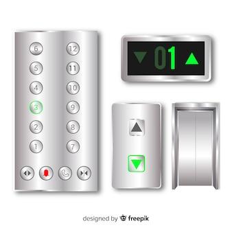 Éléments d'ascenseur modernes avec un design réaliste