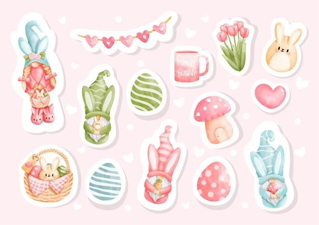 Éléments d'autocollant de pâques aquarelle avec des oeufs de pâques et gnome