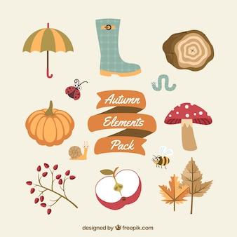 Éléments d'automne emballent