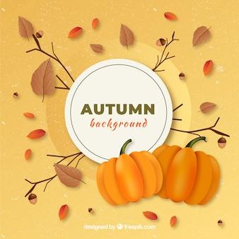 Éléments automne et feuilles de belle main dessinés