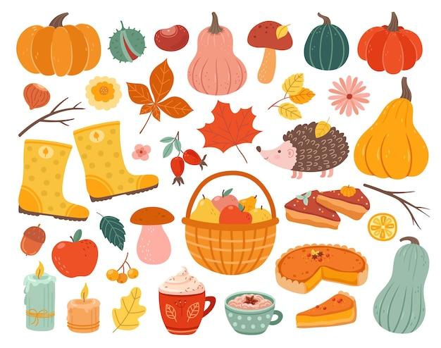 Éléments d'automne mignons. citrouille d'automne, feuilles de forêt de novembre hérisson. thanksgiving et saison des récoltes, illustration vectorielle de décoration confortable. forêt de citrouilles d'automne, collection de champignons