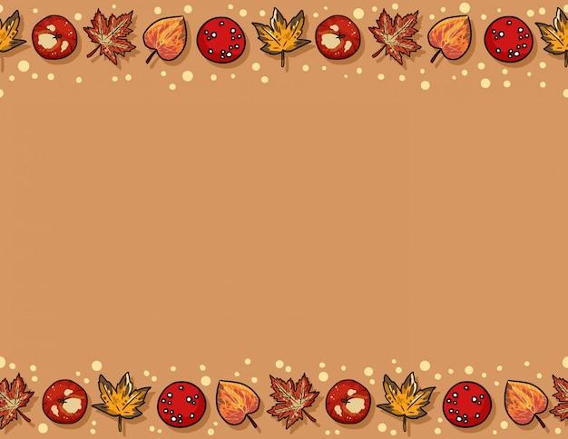 Éléments d'automne mignons et feuilles modèle sans couture.
