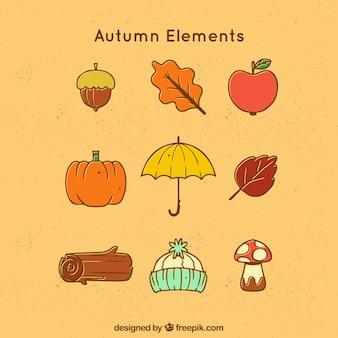 Eléments d'automne typiques dans un style simple