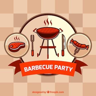 Éléments de barbecue dessinés à la main un badge