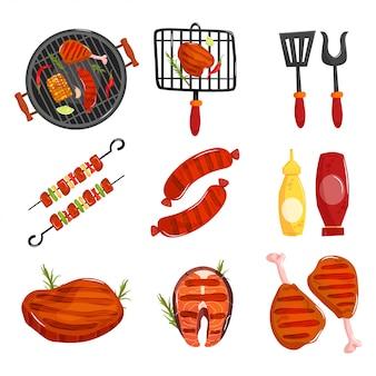 Éléments de barbecue mis en dessin animé