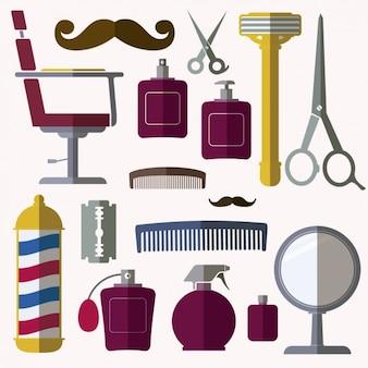 Éléments barbershop en design plat
