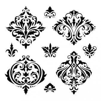Éléments baroques floraux damassés
