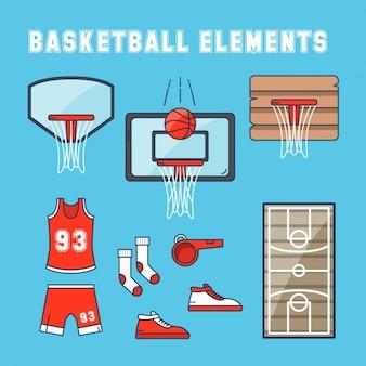 Éléments de basket-ball à la main dessinée