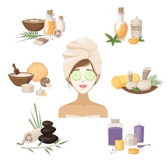 Éléments de beauté spa avec femme masque pierres huiles et crèmes isolé illustration vectorielle