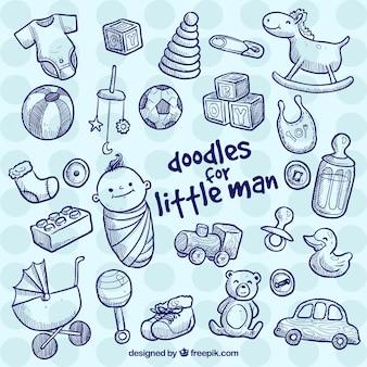 Éléments de bébé dans le style doodle