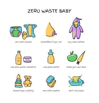 Éléments de bébé zéro déchet, couches lavables, jouets, savon naturel, illustration vectorielle de bouteille en verre doodle