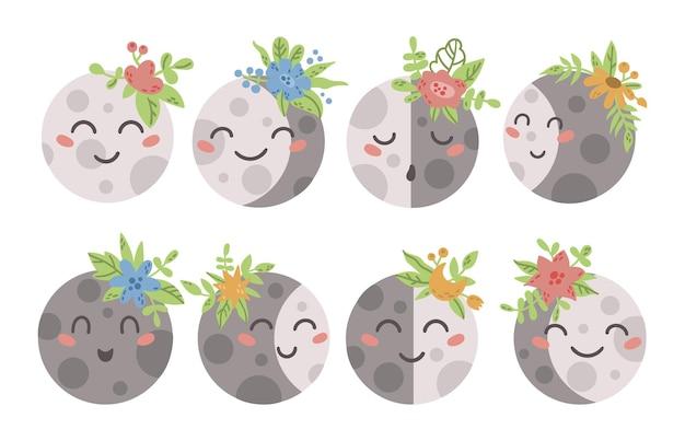 Éléments boho visage bébé lune isolés
