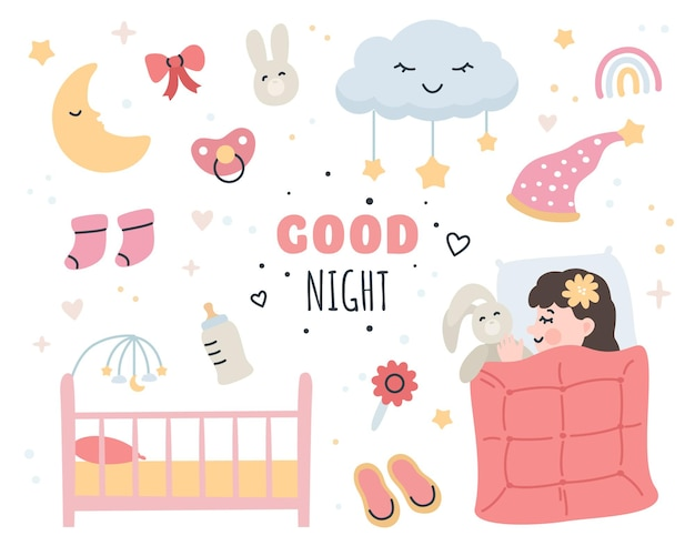 Éléments de bonne nuit avec jolie petite fille