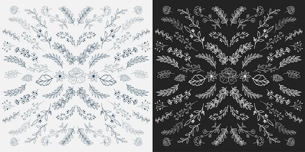 Éléments botaniques dessinés à la main.