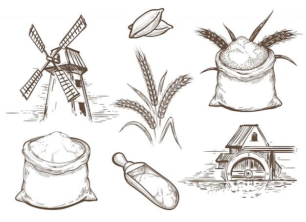 Éléments de boulangerie de croquis rétro