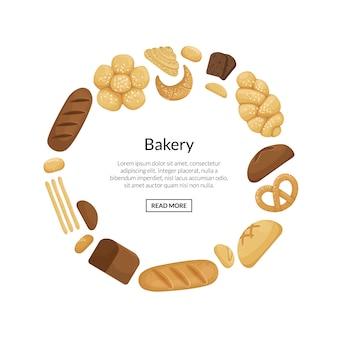 Éléments de boulangerie de dessin animé en forme de cercle