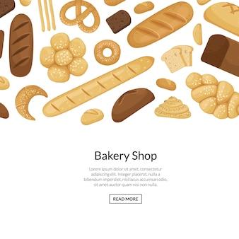 Éléments de boulangerie de dessin animé avec illustration de la surface
