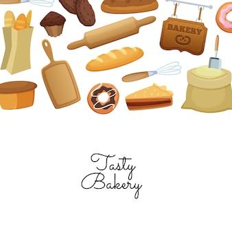 Éléments de boulangerie de dessin animé avec place pour l'illustration de texte
